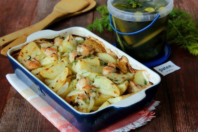 Картофель с куриным филе в сметане