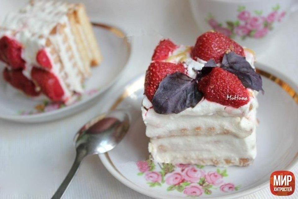 Торт из печенья и творога. 🍓