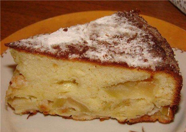 Пирог ленивый с яблоками