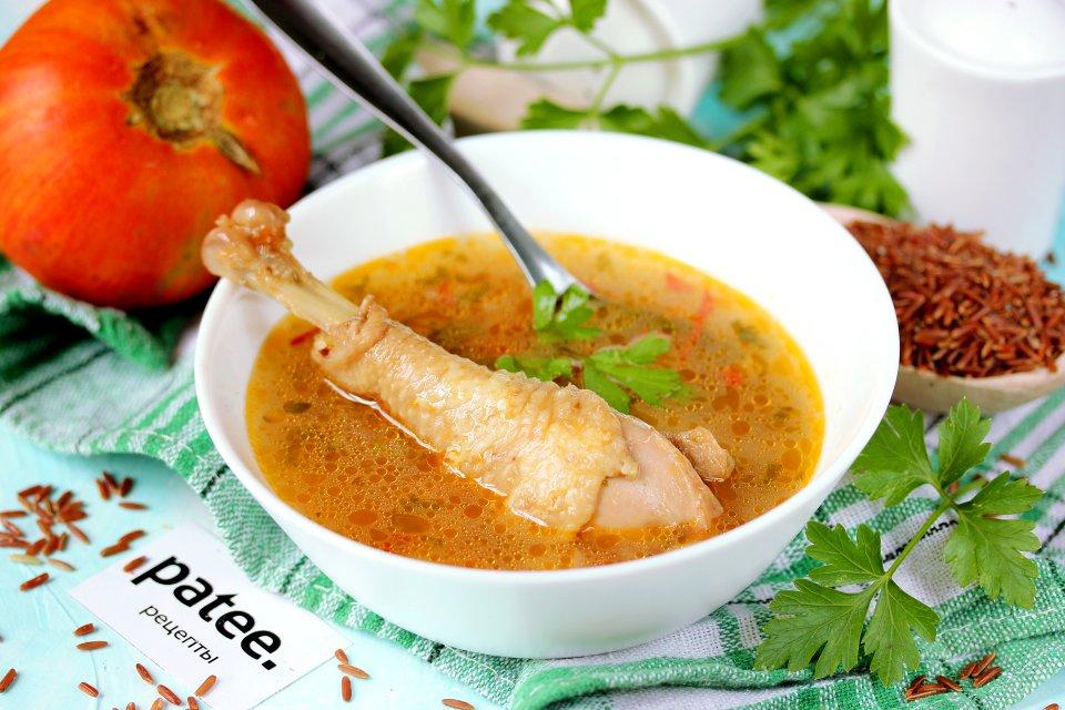Куриный суп с красным рисом