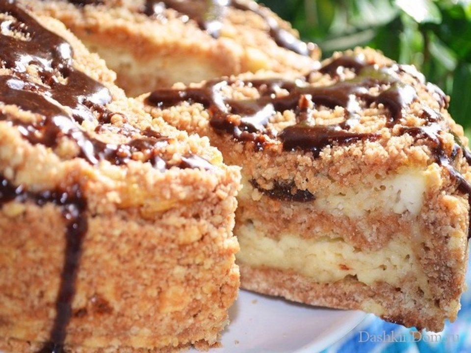 Пирог с творогом и черносливом.