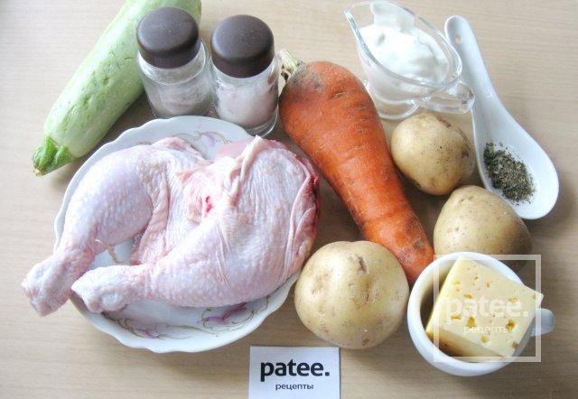 Куриные окорочка с кабачком и картофелем в духовке