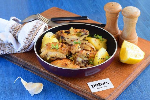 Курица запеченная с лимоном и тимьяном