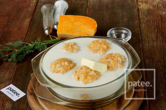 Куриные тефтели с тыквой, запеченные в молоке