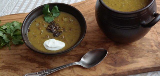 Зимний тыквенный суп с чечевицей