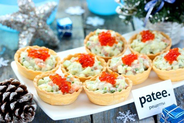 """Салат в тарталетках """"Новогодняя рыбка"""""""