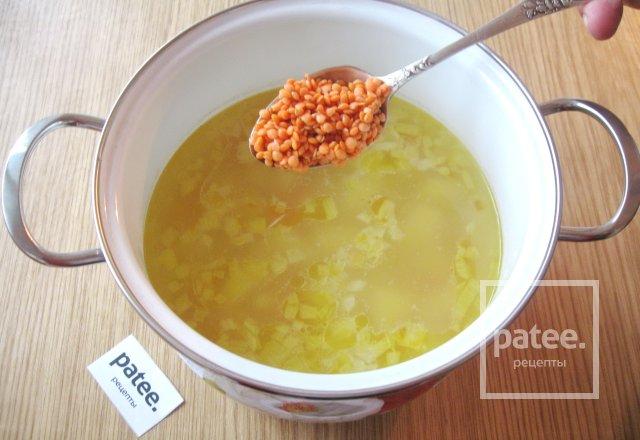 Суп с грибами и красной чечевицей