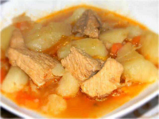 соус из свинины с картошкой и грибами фото-рецепт