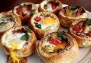Яйца запечённые на булочке