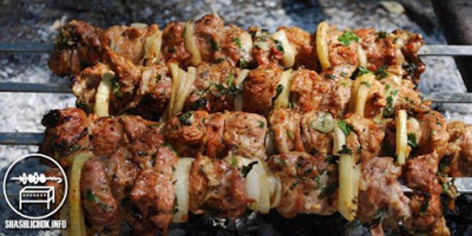 Шашлык из свинины в киви с маринованным луком