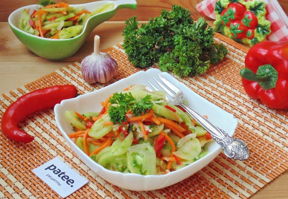 Острый салат из зеленых помидоров