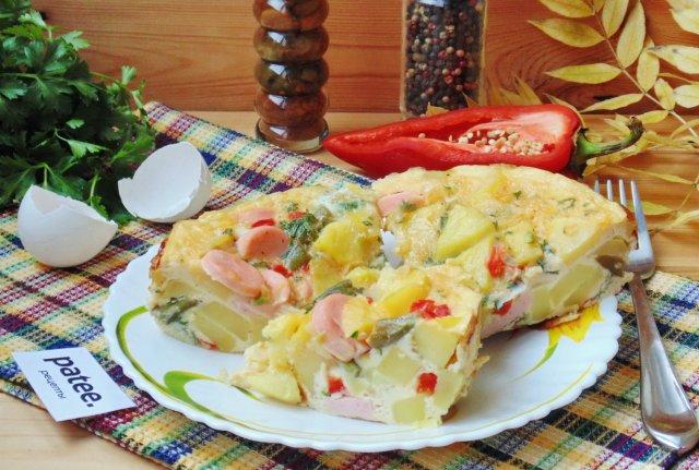 Запеканка с овощами и сосисками в мультиварке