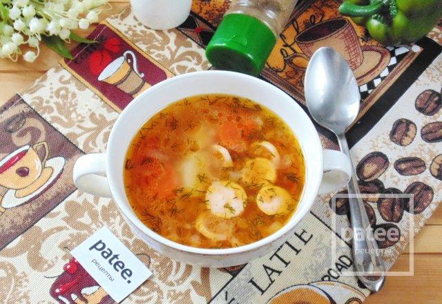 суп рассольник с сосисками