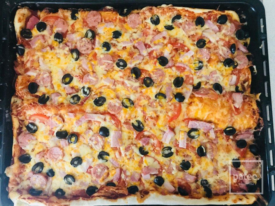 Домашняя 🍕 мясная пицца с маслинами