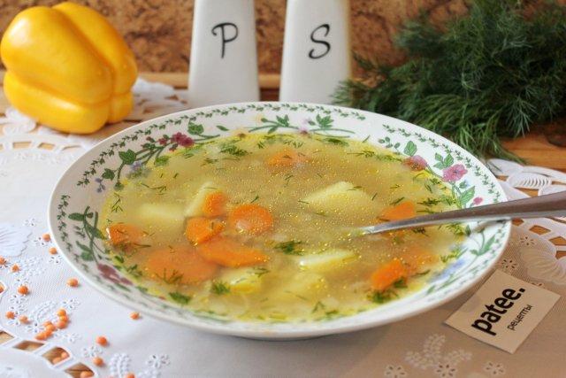 Рыбный суп с красной чечевицей