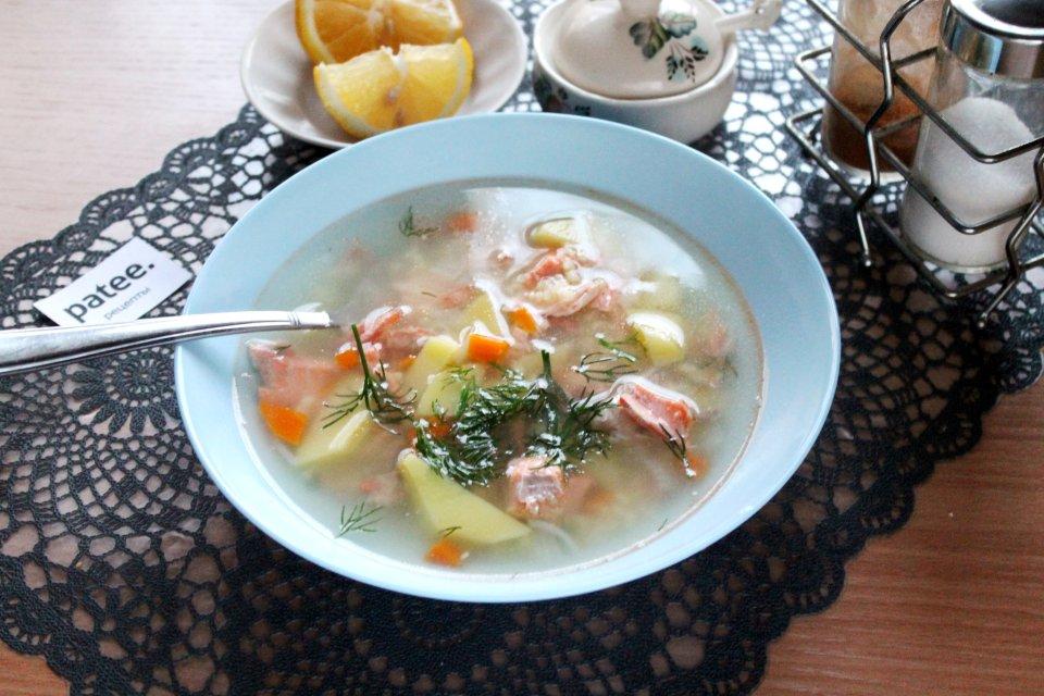 Пшенный суп с кетой