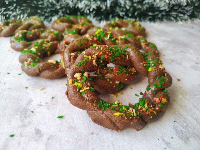Шоколадное печенье «Рождественские веночки»