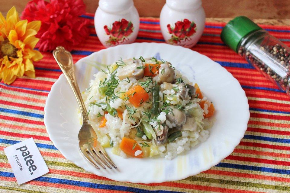 Овощное рагу с рисом и грибами