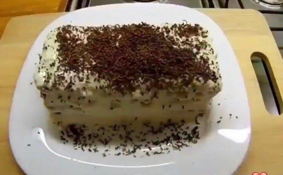 Тортик без выпечки с печеньем