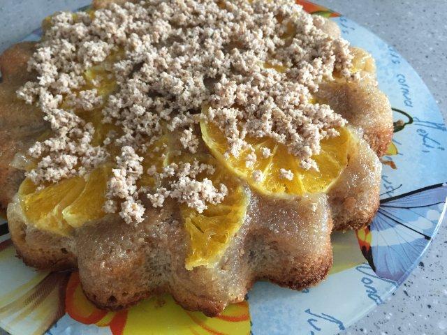 Кекс с апельсинами и грецкореховым жмыхом