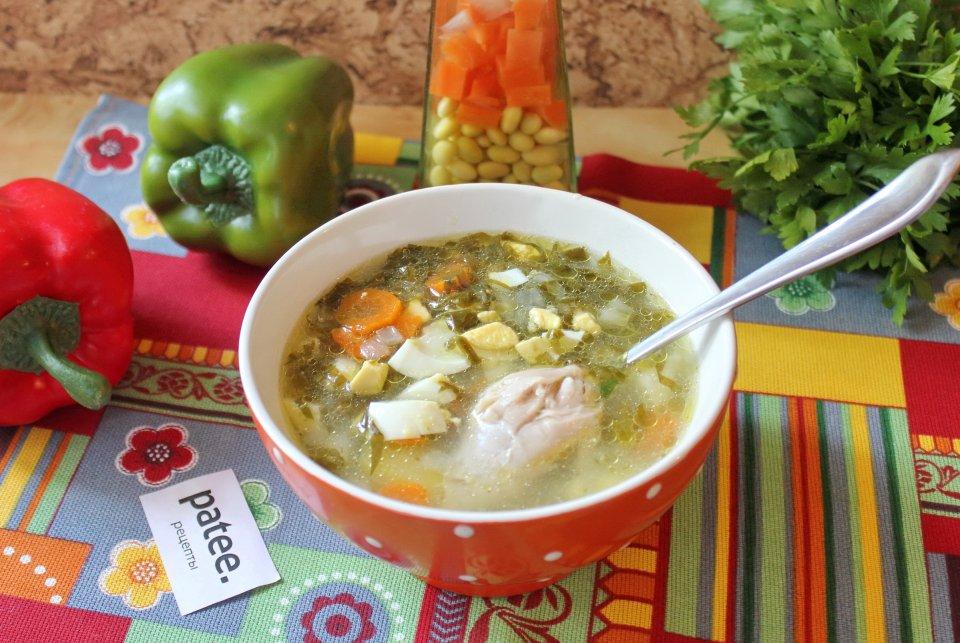Суп из щавеля с курицей и пшеном