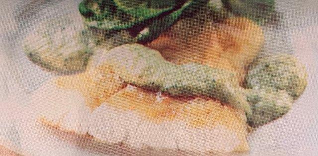 Потрясающий палтус с соусом из брокколи
