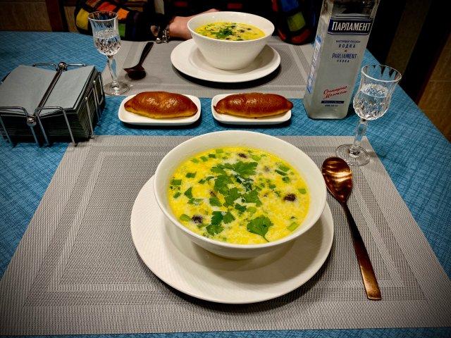 Сливочный суп с Горошком и грибами Шиитаке
